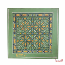 Moroccan Mosaic Art Zouak Style signed by a Moroccan Artist Gold Mamounia Green  45 cm x 45 cm
